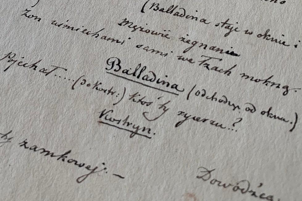 """""""Balladyna"""" uhonorowana wpisem na Polską Listę Krajową Programu UNESCO """"Pamięć Świata"""""""